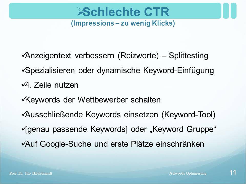  Schlechte CTR (Impressions – zu wenig Klicks) Adwords OptimierungProf. Dr. Tilo Hildebrandt 11 Anzeigentext verbessern (Reizworte) – Splittesting Sp