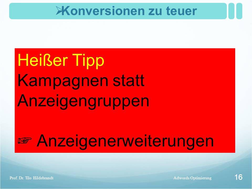  Konversionen zu teuer Adwords OptimierungProf. Dr. Tilo Hildebrandt 16 CPC und CTR optimiert? Usability der Seite (des Shops) verbessern Adwords-Lin