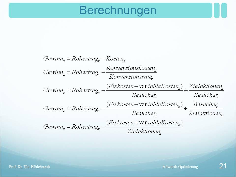 Berechnungen Adwords OptimierungProf. Dr. Tilo Hildebrandt 21