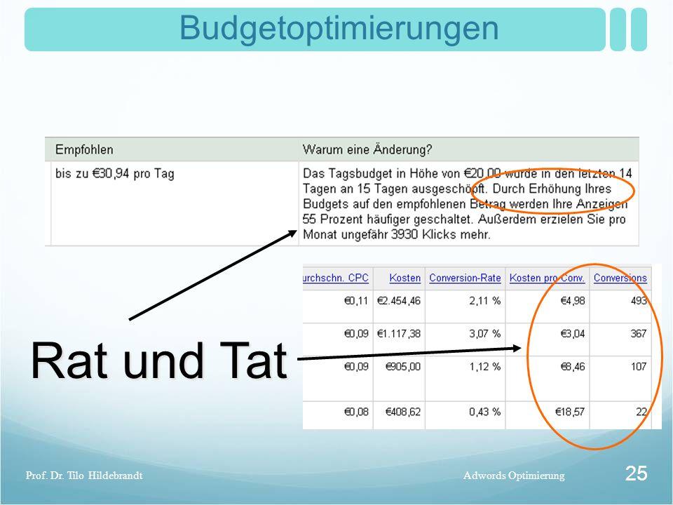 Budgetoptimierungen Adwords OptimierungProf. Dr. Tilo Hildebrandt 25 Rat und Tat