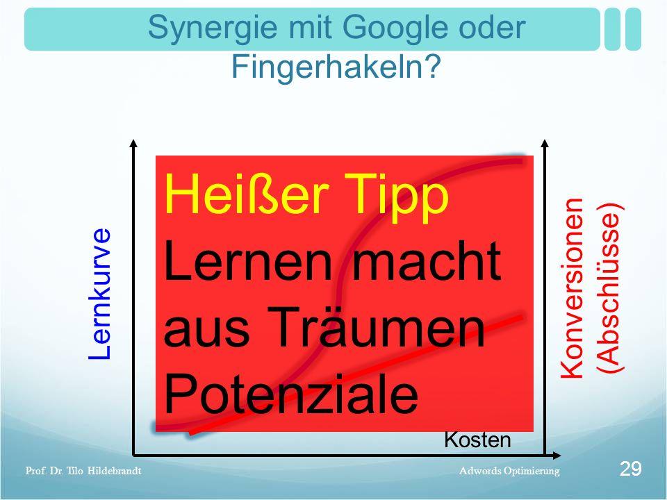 Synergie mit Google oder Fingerhakeln? Adwords OptimierungProf. Dr. Tilo Hildebrandt 29 Konversionen (Abschlüsse) Lernkurve Heißer Tipp Lernen macht a