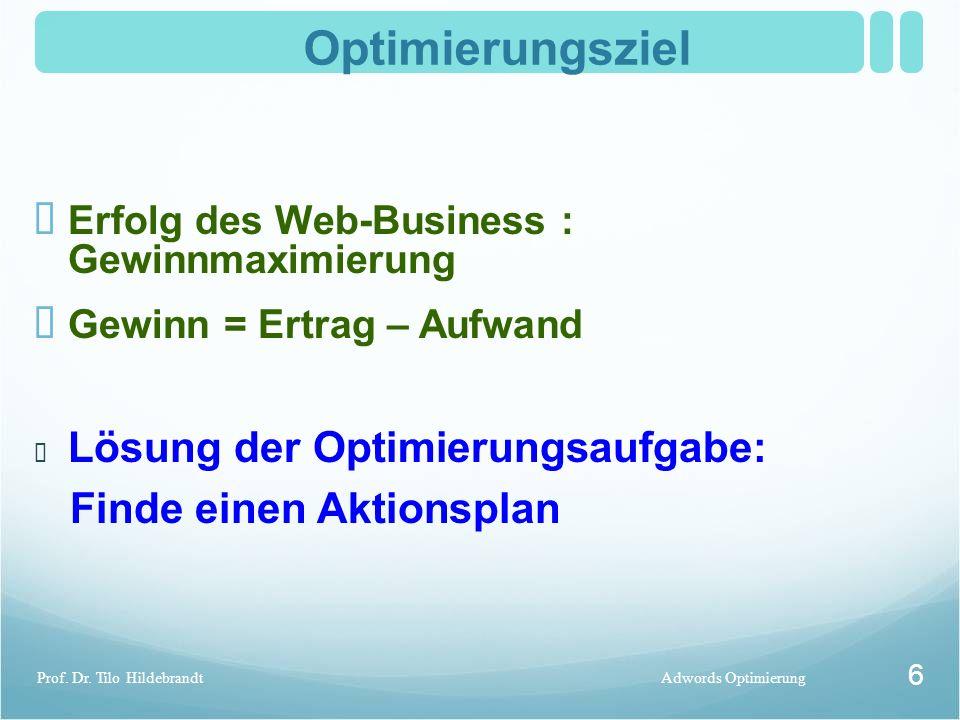 Optimierungsziel ✏ Erfolg des Web-Business : Gewinnmaximierung ✏ Gewinn = Ertrag – Aufwand Adwords OptimierungProf. Dr. Tilo Hildebrandt 6 ✏ Lösung de
