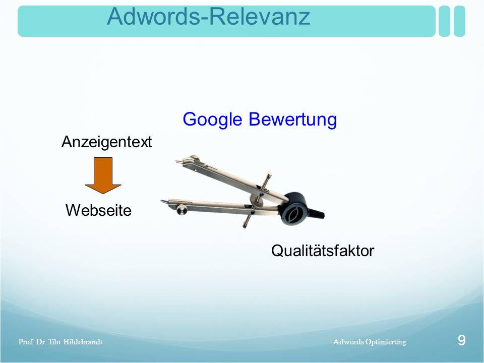 Adwords-Relevanz Adwords OptimierungProf. Dr. Tilo Hildebrandt 9 Anzeigentext Webseite Qualitätsfaktor Google Bewertung