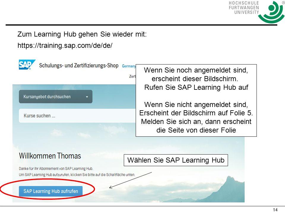 14 Wenn Sie noch angemeldet sind, erscheint dieser Bildschirm. Rufen Sie SAP Learning Hub auf Wenn Sie nicht angemeldet sind, Erscheint der Bildschirm
