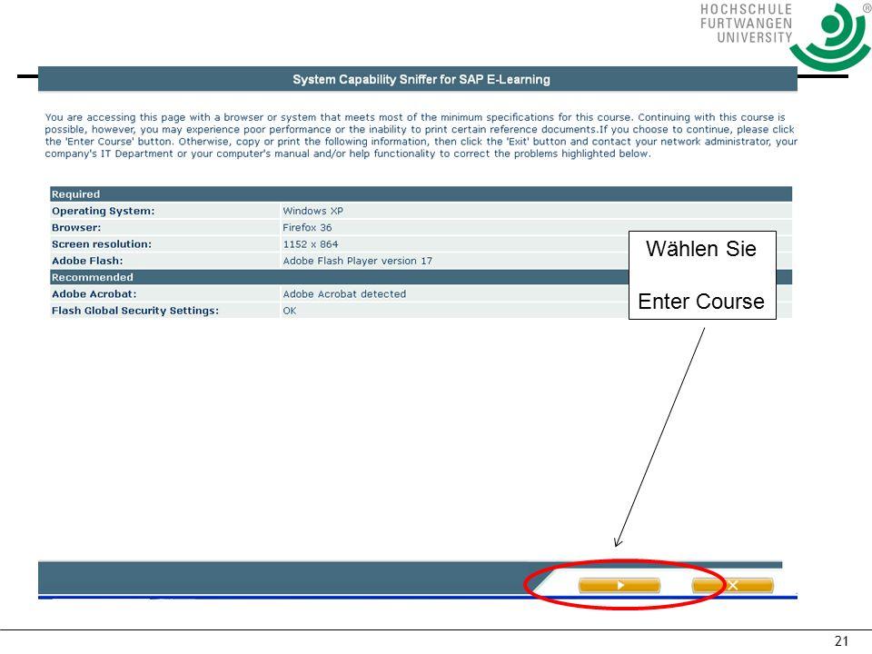 21 Wählen Sie Enter Course