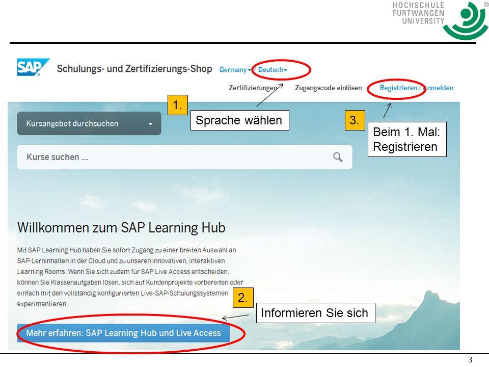 3 Sprache wählen Beim 1. Mal: Registrieren 1. Informieren Sie sich 2. 3.