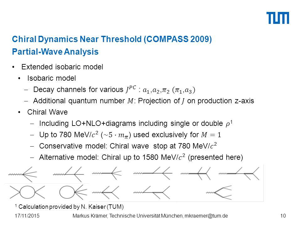 Chiral Dynamics Near Threshold (COMPASS 2009) Partial-Wave Analysis Markus Krämer, Technische Universität München, mkraemer@tum.de17/11/201510 1 Calculation provided by N.