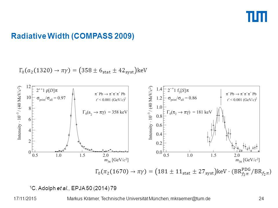 Radiative Width (COMPASS 2009) 17/11/2015Markus Krämer, Technische Universität München, mkraemer@tum.de24 1 C.