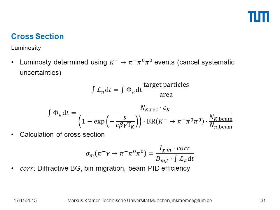 Cross Section Luminosity Markus Krämer, Technische Universität München, mkraemer@tum.de17/11/201531