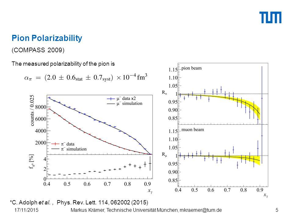 Pion Polarizability 17/11/2015Markus Krämer, Technische Universität München, mkraemer@tum.de5 (COMPASS 2009) The measured polarizability of the pion is *C.
