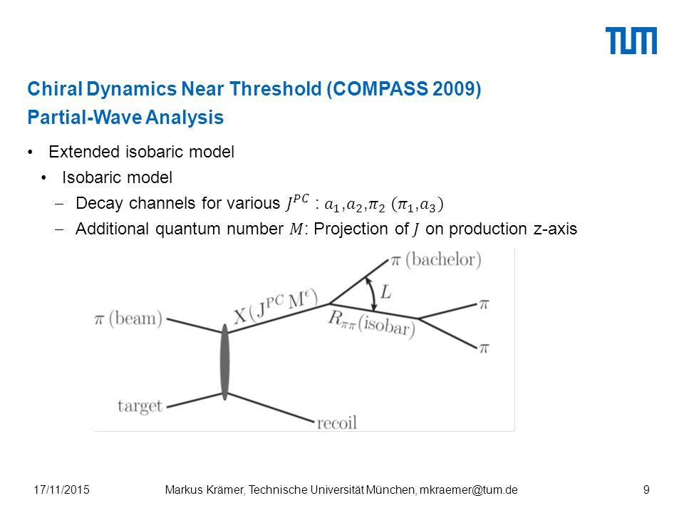 Chiral Dynamics Near Threshold (COMPASS 2009) Partial-Wave Analysis Markus Krämer, Technische Universität München, mkraemer@tum.de17/11/20159
