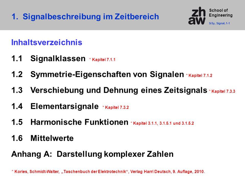 School of Engineering 1. Signalbeschreibung im Zeitbereich SiSy, Signal, 1-1 Inhaltsverzeichnis 1.1Signalklassen * Kapitel 7.1.1 1.2Symmetrie-Eigensch