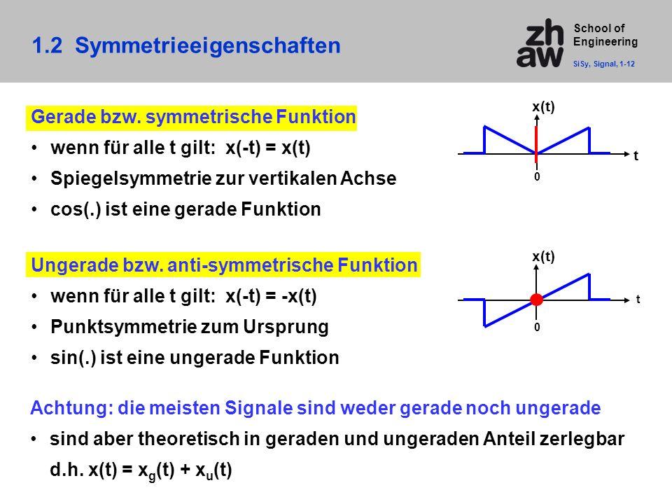 School of Engineering Ungerade bzw. anti-symmetrische Funktion wenn für alle t gilt: x(-t) = -x(t) Punktsymmetrie zum Ursprung sin(.) ist eine ungerad
