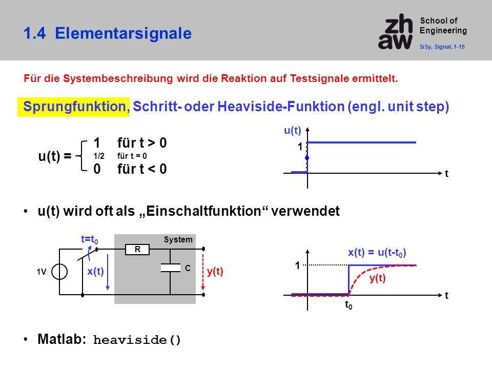 School of Engineering 1.4 Elementarsignale SiSy, Signal, 1-15 Für die Systembeschreibung wird die Reaktion auf Testsignale ermittelt. Sprungfunktion,
