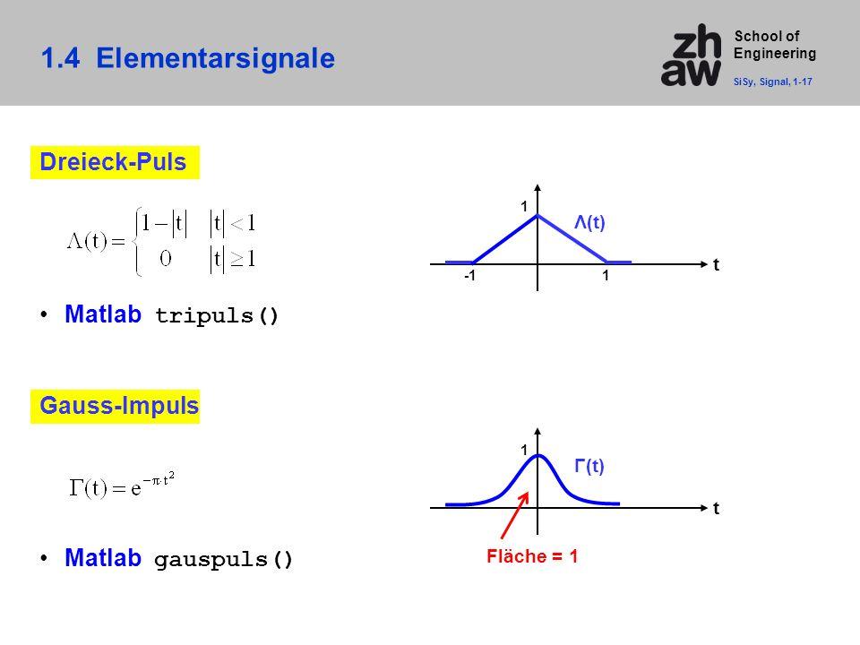 School of Engineering 1.4 Elementarsignale SiSy, Signal, 1-17 Dreieck-Puls Matlab tripuls() t 1 Λ(t) 1 Gauss-Impuls Matlab gauspuls() t 1 Γ(t) Fläche