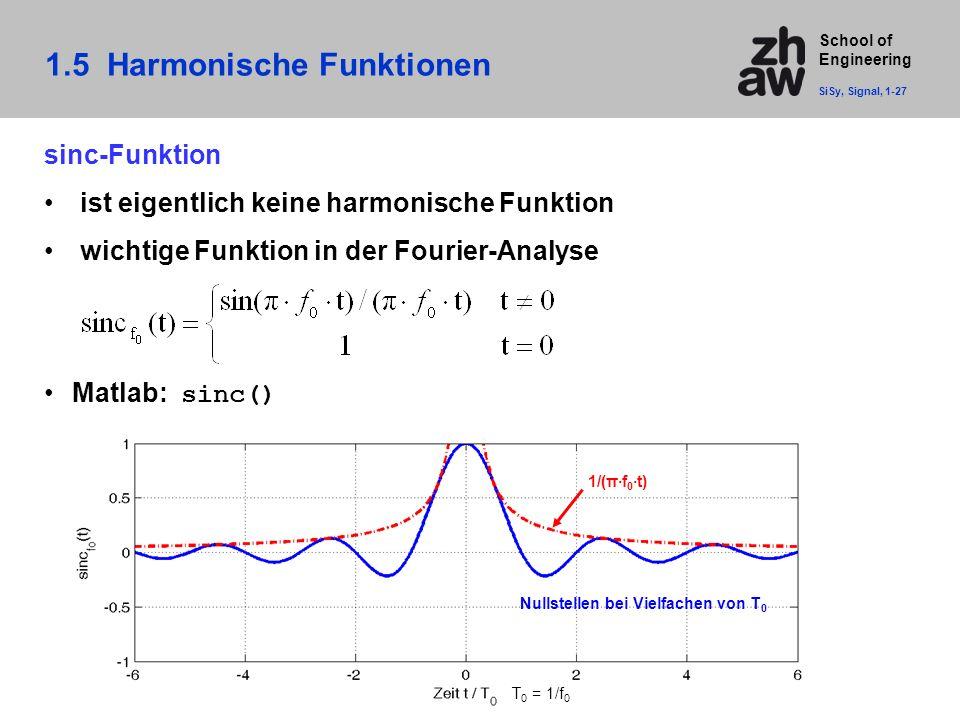 School of Engineering sinc-Funktion ist eigentlich keine harmonische Funktion wichtige Funktion in der Fourier-Analyse Matlab: sinc() 1/(π·f 0 ·t) T 0