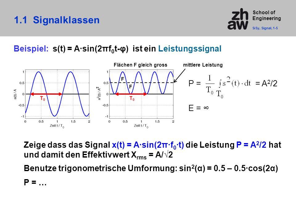 School of Engineering Zeige dass das Signal x(t) = A·sin(2π·f 0 ·t) die Leistung P = A 2 /2 hat und damit den Effektivwert X rms = A/√2 Benutze trigon