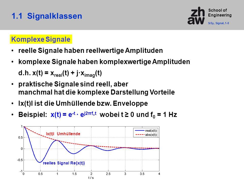 School of Engineering Komplexe Signale reelle Signale haben reellwertige Amplituden komplexe Signale haben komplexwertige Amplituden d.h. x(t) = x rea