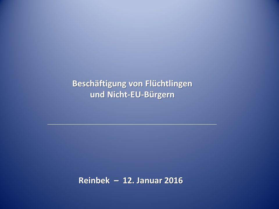 Reinbek – 12. Januar 2016 Beschäftigung von Flüchtlingen und Nicht-EU-Bürgern