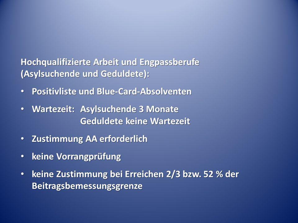 Hochqualifizierte Arbeit und Engpassberufe (Asylsuchende und Geduldete): Positivliste und Blue-Card-Absolventen Positivliste und Blue-Card-Absolventen Wartezeit:Asylsuchende 3 Monate Geduldete keine Wartezeit Wartezeit:Asylsuchende 3 Monate Geduldete keine Wartezeit Zustimmung AA erforderlich Zustimmung AA erforderlich keine Vorrangprüfung keine Vorrangprüfung keine Zustimmung bei Erreichen 2/3 bzw.