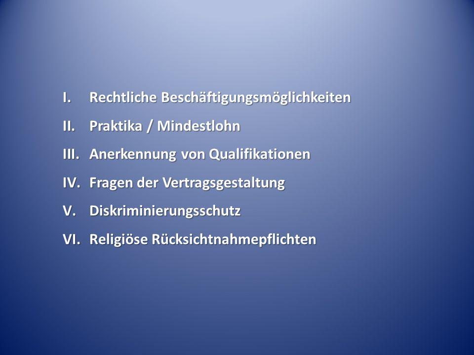 I.Rechtliche Beschäftigungsmöglichkeiten II.Praktika / Mindestlohn III.Anerkennung von Qualifikationen IV.Fragen der Vertragsgestaltung V.Diskriminierungsschutz VI.Religiöse Rücksichtnahmepflichten