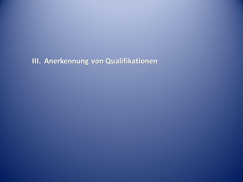 III.Anerkennung von Qualifikationen