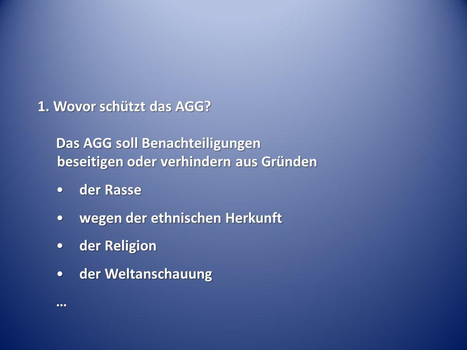 1. Wovor schützt das AGG.