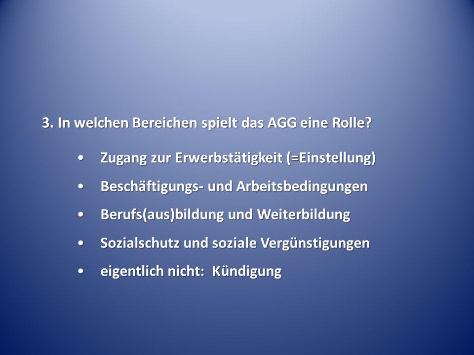 3. In welchen Bereichen spielt das AGG eine Rolle.