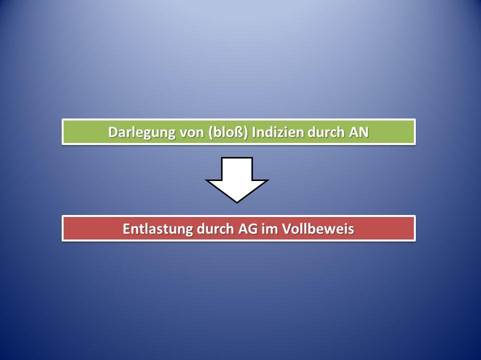 Darlegung von (bloß) Indizien durch AN Entlastung durch AG im Vollbeweis