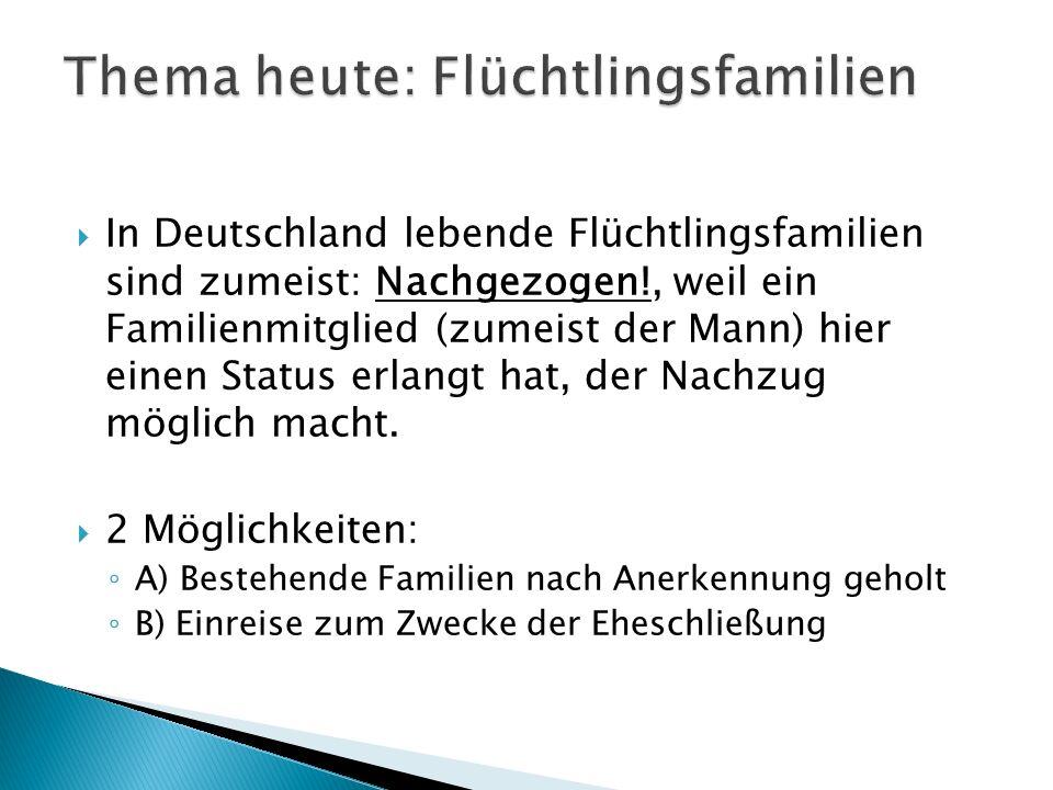  In Deutschland lebende Flüchtlingsfamilien sind zumeist: Nachgezogen!, weil ein Familienmitglied (zumeist der Mann) hier einen Status erlangt hat, der Nachzug möglich macht.