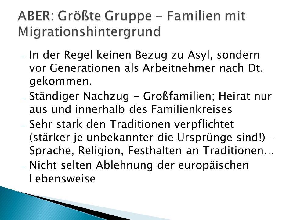 - In der Regel keinen Bezug zu Asyl, sondern vor Generationen als Arbeitnehmer nach Dt.