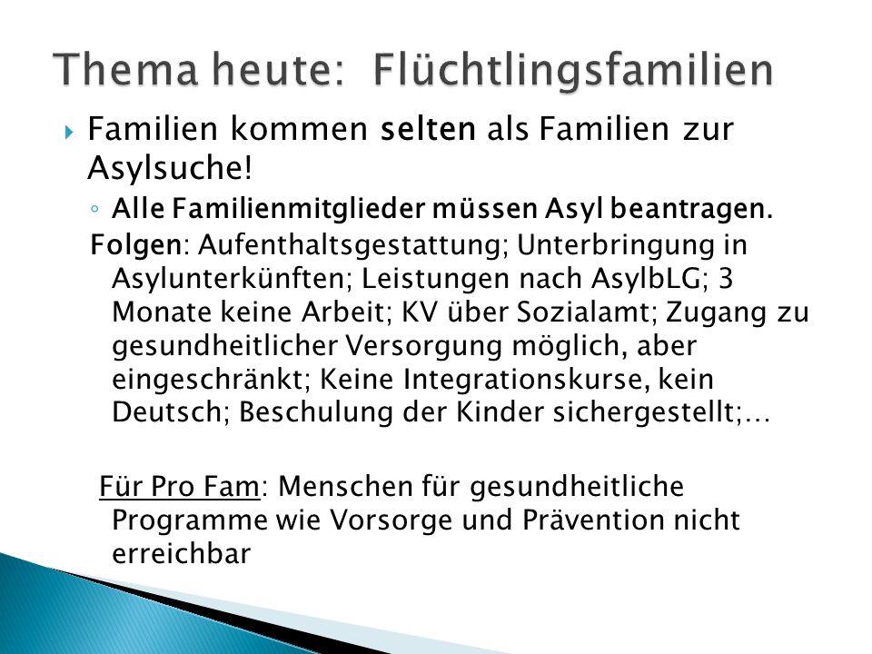  Familien kommen selten als Familien zur Asylsuche.