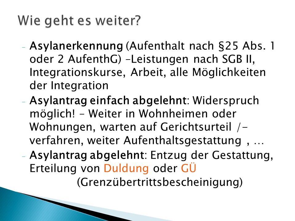 - Asylanerkennung (Aufenthalt nach §25 Abs.