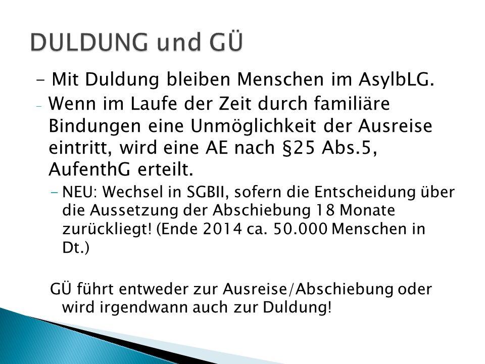 - Mit Duldung bleiben Menschen im AsylbLG.