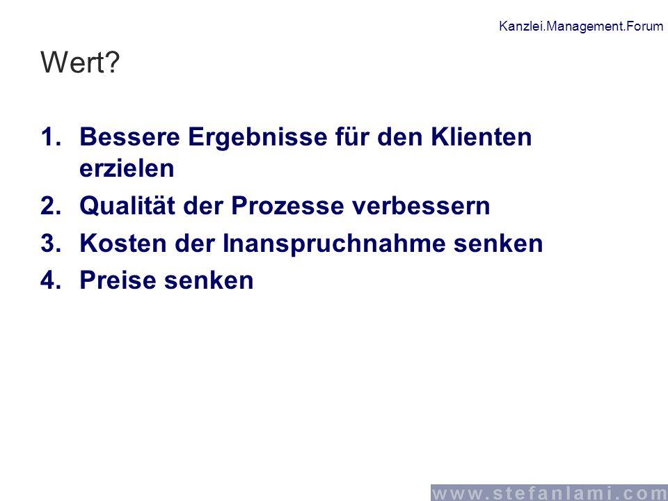 Kanzlei.Management.Forum Wert? 1.Bessere Ergebnisse für den Klienten erzielen 2.Qualität der Prozesse verbessern 3.Kosten der Inanspruchnahme senken 4