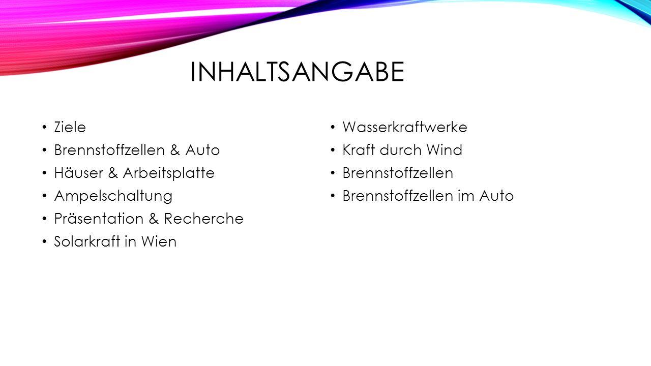 INHALTSANGABE Ziele Brennstoffzellen & Auto Häuser & Arbeitsplatte Ampelschaltung Präsentation & Recherche Solarkraft in Wien Wasserkraftwerke Kraft d