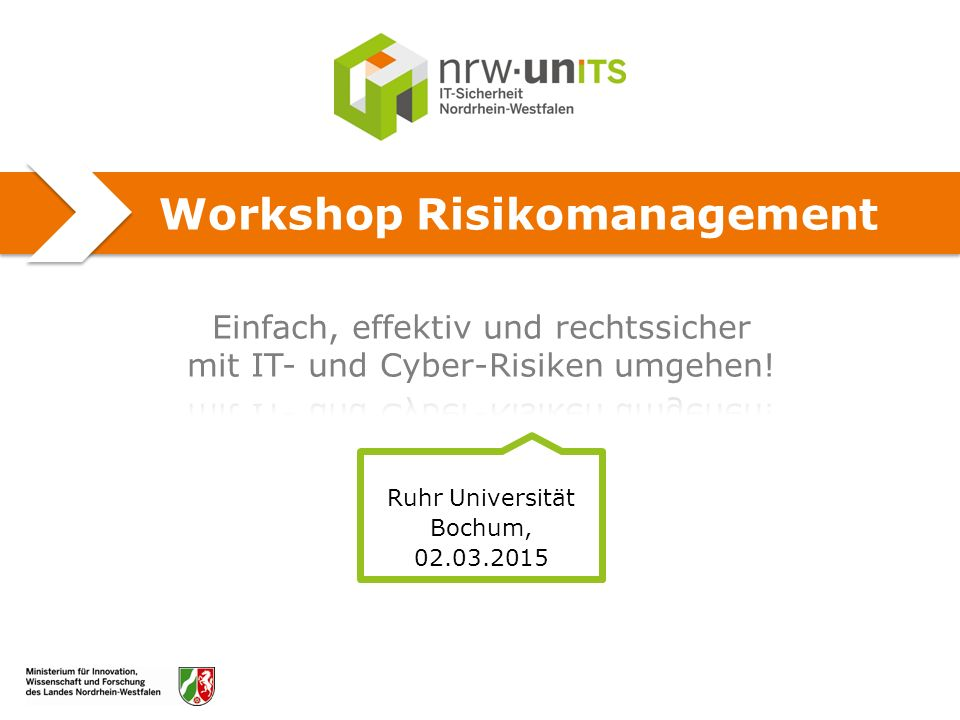 Workshop Risikomanagement Ruhr Universität Bochum, 02.03.2015