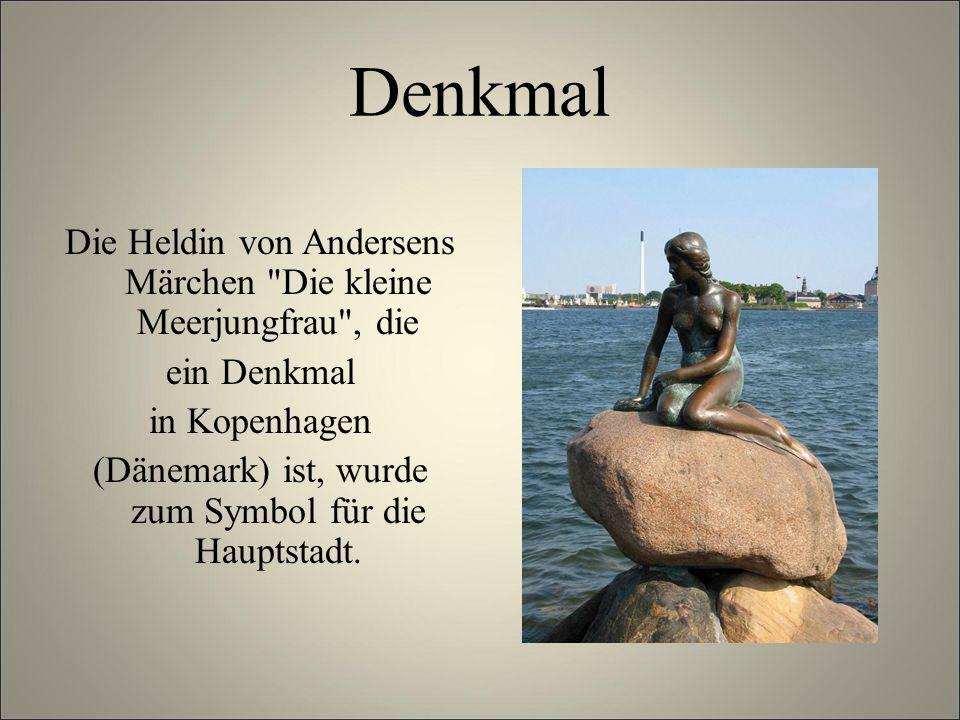 Denkmal Die Heldin von Andersens Märchen Die kleine Meerjungfrau , die ein Denkmal in Kopenhagen (Dänemark) ist, wurde zum Symbol für die Hauptstadt.