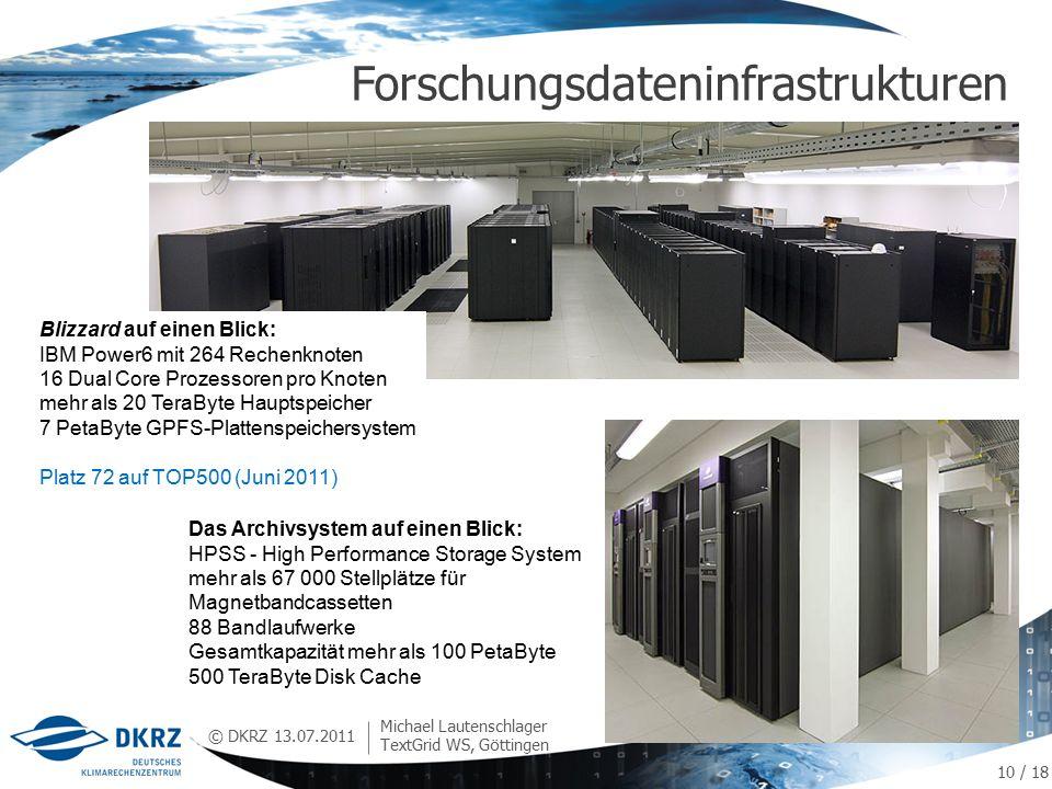 © DKRZ Forschungsdateninfrastrukturen 13.07.2011 Michael Lautenschlager TextGrid WS, Göttingen Das Archivsystem auf einen Blick: HPSS - High Performance Storage System mehr als 67 000 Stellplätze für Magnetbandcassetten 88 Bandlaufwerke Gesamtkapazität mehr als 100 PetaByte 500 TeraByte Disk Cache Blizzard auf einen Blick: IBM Power6 mit 264 Rechenknoten 16 Dual Core Prozessoren pro Knoten mehr als 20 TeraByte Hauptspeicher 7 PetaByte GPFS-Plattenspeichersystem Platz 72 auf TOP500 (Juni 2011) 10 / 18