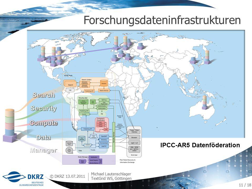 © DKRZ Forschungsdateninfrastrukturen 13.07.2011 Michael Lautenschlager TextGrid WS, Göttingen IPCC-AR5 Datenföderation 11 / 18