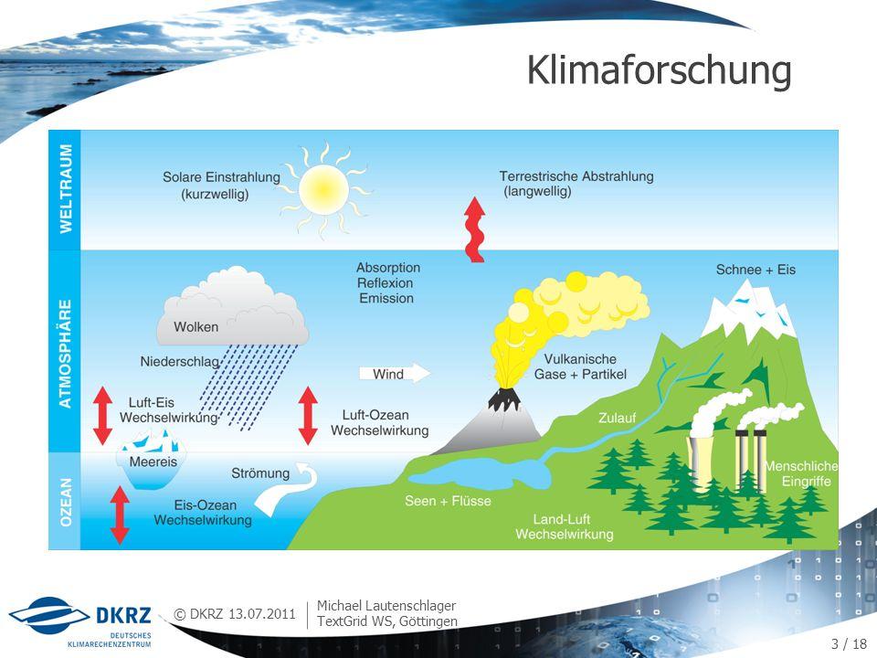 © DKRZ Klimaforschung 13.07.2011 Michael Lautenschlager TextGrid WS, Göttingen 3 / 18
