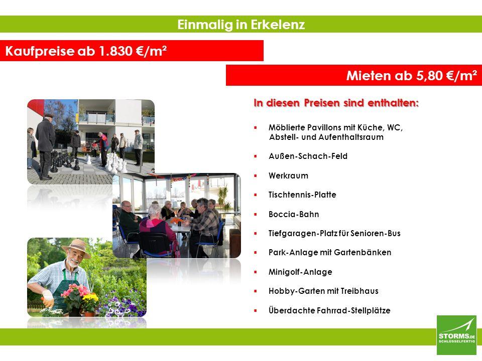 Kaufpreise ab 1.830 €/m² Mieten ab 5,80 €/m²  Möblierte Pavillons mit Küche, WC, Abstell- und Aufenthaltsraum  Außen-Schach-Feld  Werkraum  Tischtennis-Platte  Boccia-Bahn  Tiefgaragen-Platz für Senioren-Bus  Park-Anlage mit Gartenbänken  Minigolf-Anlage  Hobby-Garten mit Treibhaus  Überdachte Fahrrad-Stellplätze Einmalig in Erkelenz In diesen Preisen sind enthalten: +++ Übrigens: Für Kapital-Anleger Renditen von ca.