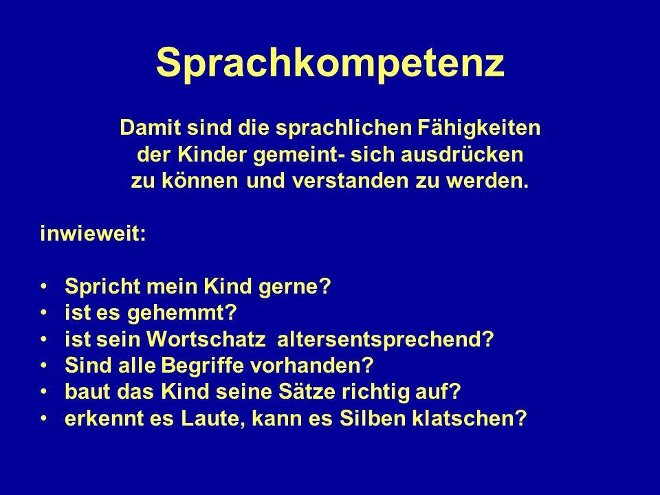 Sprachkompetenz Damit sind die sprachlichen Fähigkeiten der Kinder gemeint- sich ausdrücken zu können und verstanden zu werden. inwieweit: Spricht mei