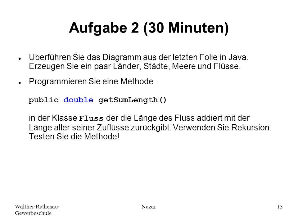 Walther-Rathenau- Gewerbeschule Nazar13 Aufgabe 2 (30 Minuten) Überführen Sie das Diagramm aus der letzten Folie in Java. Erzeugen Sie ein paar Länder