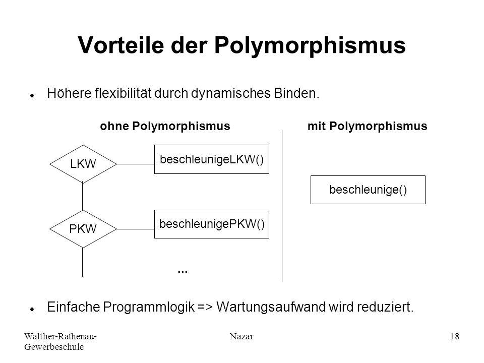 Walther-Rathenau- Gewerbeschule Nazar18 Vorteile der Polymorphismus Höhere flexibilität durch dynamisches Binden. Einfache Programmlogik => Wartungsau