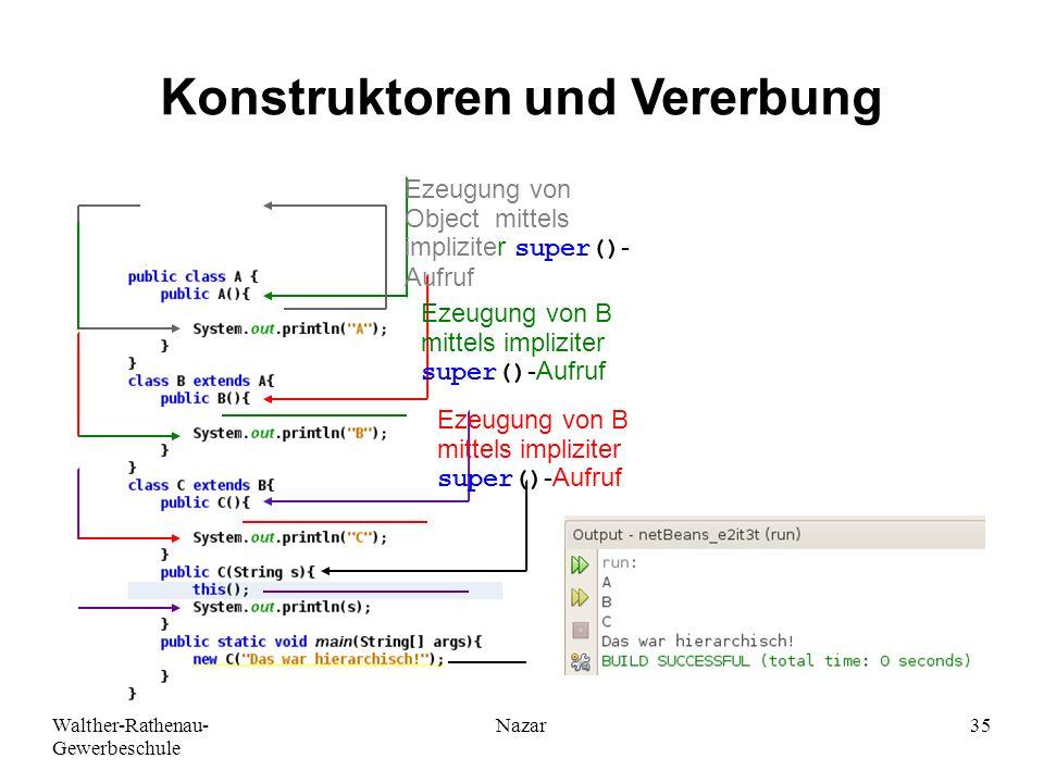 Walther-Rathenau- Gewerbeschule Nazar35 Konstruktoren und Vererbung Ezeugung von B mittels impliziter super()-Aufruf Ezeugung von Object mittels impli