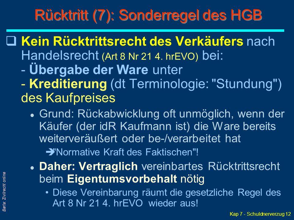 Kap 7 - Schuldnerverzug 12 Barta: Zivilrecht online qKein Rücktrittsrecht des Verkäufers nach Handelsrecht (Art 8 Nr 21 4.