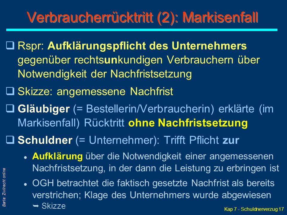 Kap 7 - Schuldnerverzug 17 Barta: Zivilrecht online qRspr: Aufklärungspflicht des Unternehmers gegenüber rechtsunkundigen Verbrauchern über Notwendigk