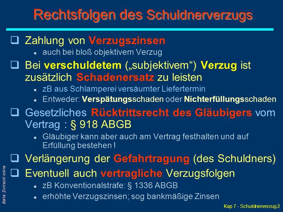 "Kap 7 - Schuldnerverzug 2 Barta: Zivilrecht online qZahlung von Verzugszinsen l auch bei bloß objektivem Verzug qBei verschuldetem (""subjektivem"") Ver"