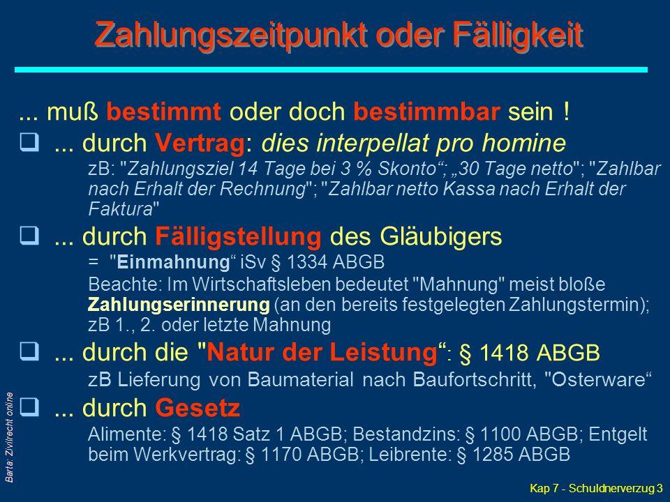 Kap 7 - Schuldnerverzug 3 Barta: Zivilrecht online...